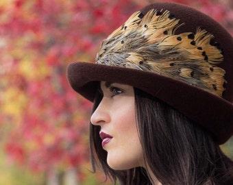 Vintage Hat// Brown// Feather