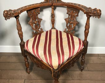 Antique Carved Corner Chair Circa 1880