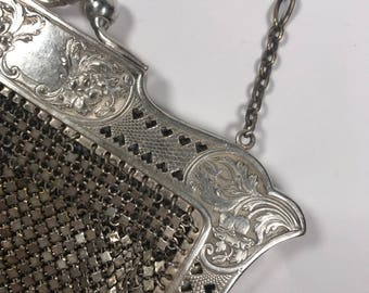 Silver plated evening purse // vintage silver purse