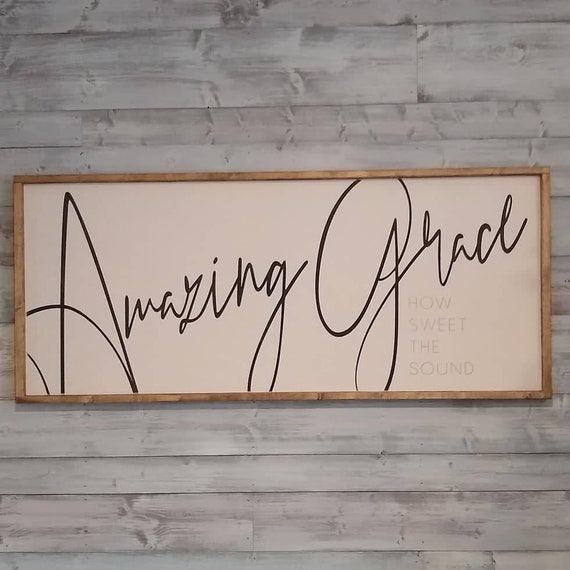 Amazing Grace Wood Box Features a Distressed Black Stain with White Text