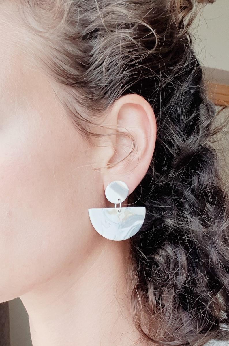 4ae192b33 Marble polymer clay earrings statement geometric shape | Etsy
