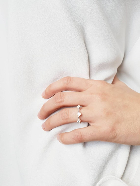 Dainty silver ring  with moonstone charm Minimalist 925 sterling silver ring with gemstones charm Stackable ring Gift for her.