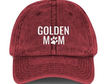 4fe4ca7b29266 Golden Retriever Mom Distressed Vintage Hat Dog Mom Embroidered Baseball  Hats Dog Lover Camo Dad Hat Cotton Twill Cap