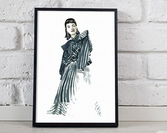 fashion illustration, black and white art, wall decor - 3 sizes available Giclee print