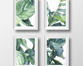 Set of 4 Prints, Tropical Art, Botanical Illustration, Set of 4 Wall Art, Fiddle Leaf Fig Art, Ficus Lyrata