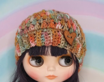crochet Blythe hat /beanie in stonewashed orange colors and wooden button