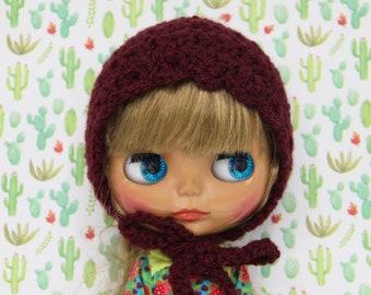 Blythe bonnet/hat/helmet Red burgundy