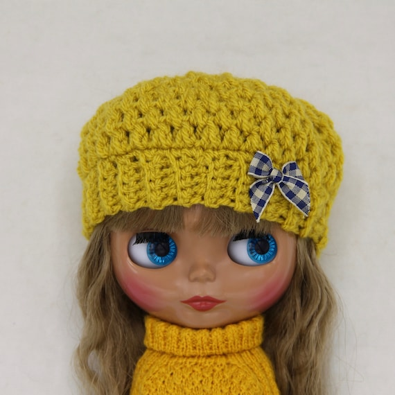 crochet Blythe hat  beanie in autumn yellow  mustard color and  8ce56a758406