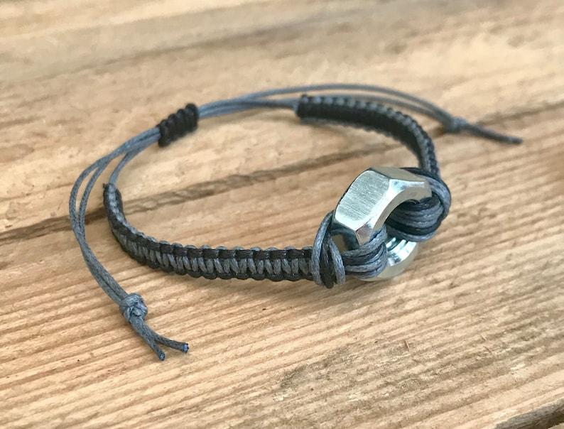 Mens Steel Hex NutBolt Macrame Square Knot Bracelet