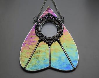 Ouija Inspired Planchette Sun Catcher in Cobalt Blue Iridescent Stained Glass