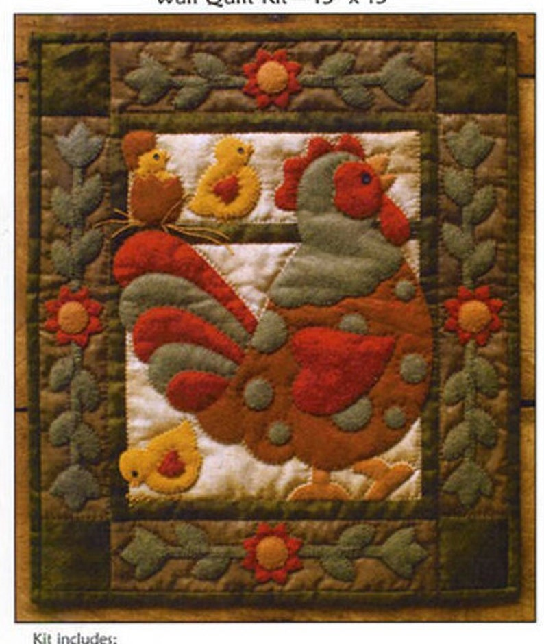 Rachel/'s of Greenfield Complete Kit Applique Sale Spotty Rooster Wall Quilt Kit