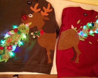 Ugly Christmas sweater, couple sweater, vomiting reindeer with lights - ladies and mens