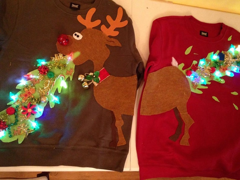 Ugly Christmas sweater couple sweater vommiting reindeer image 0