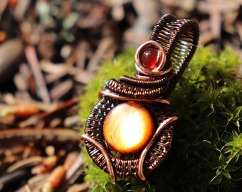 Wire Wrapped Golden Shell Pendant