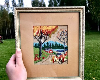 Fall themed Vintage Crewel Framed Picture.