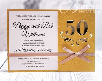 50th Wedding Anniversary Invitations Etsy
