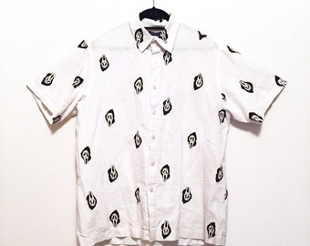 Hand painted custom Scream button up shirt
