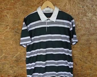 801732806bd Vintage LL BEAN Shirt Mens Medium 90's Stripes Hip Hop Polo Rugby Shirt  Benetton Size M