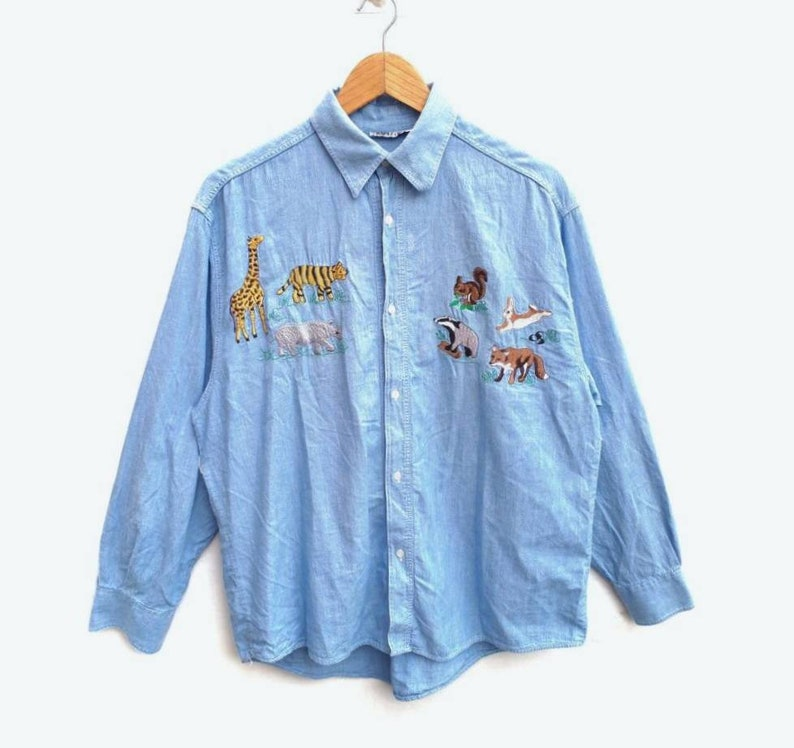 timeless design b76ae 3c619 Made In Italy Nara Camicie Chambray Button Up Shirt Colorfull Floral  Embroidery RARE Size XS