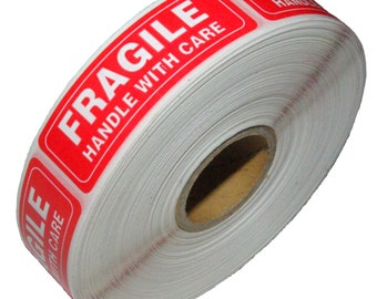 "1 Roll Fragile Handle With Care Shipping Sticker, 1""x3"", 1000 Per Roll"