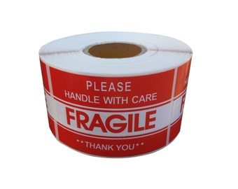 "1 Roll Fragile Handle With Care Shipping Sticker, 2""x3"", 500 Per Roll"