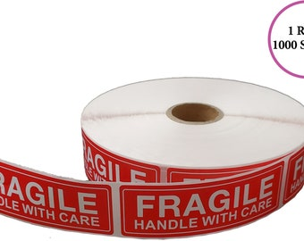 """Fragile Handle With Care Shipping Sticker, 1""""x3"""", 1000 Per Roll"""