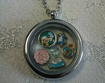 Alice in Wonderland Bespoke Floating Charm Lockets (Queen of Hearts/White Rabbit/Mad Hatter/Gifts for Her)