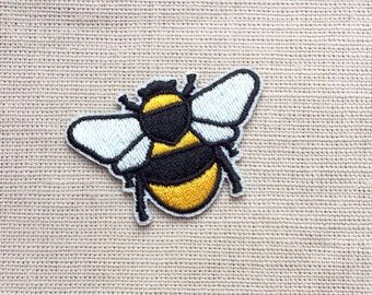 Bee Embroidered Patch - Iron On Patch - Yellow and Black