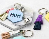 Mum Keyring - Keychain Gift for Mum - Mother Small Gift Idea - Handmade Leather Tassel