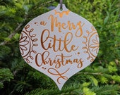 Christmas Card - 2 in 1 Design - Hanging Decoration - A Merry Little Christmas - Copper and Grey