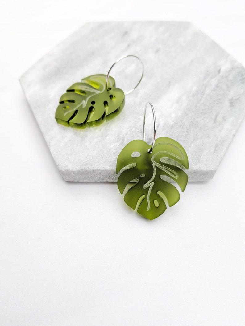 Monstera Hoop Earrings in Green  Sterling Silver Jewellery  image 0