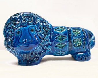 Bitossi Pottery Rimini Blu Aldo Londi Italian Blue Glazed Ceramic Lion