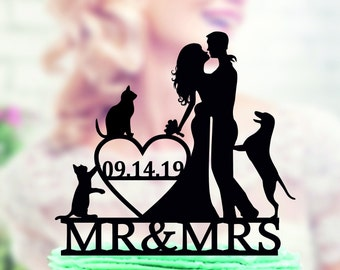 Wedding cake topper with dog and cat, Wedding Cake Topper dog, Couple silhouette cake topper, unique topper, Cake Topper with date, unique