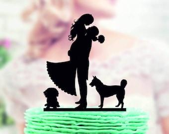 Wedding cake topper with 2 dog , wedding cake topper , Couple silhouette cake topper , dogs cake topper , dog cake topper , cake topper pet
