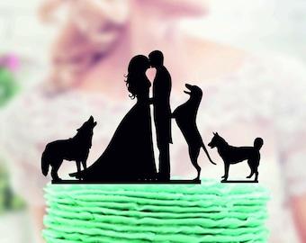 Wedding cake topper with dog , wedding cake topper couple with dog , cake topper silhouette wedding pair , Couple with Dog Cake Topper