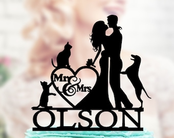 Wedding cake topper with dog and cat, Wedding Cake Topper dog, Couple silhouette cake topper, unique topper, Mr and Mrs Cake Topper , unique