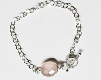 Bracelet rose quartz and silver Sterling