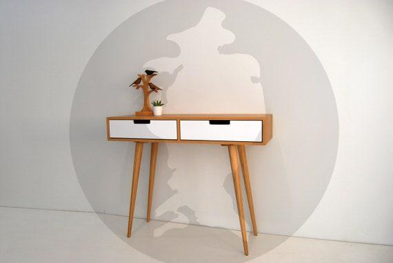 Moderne Mid Century Dressing Tisch / Konsole / Sideboard mit 2 Schubladen /  Retro / skandinavischen / Schlafzimmer Möbel / Eingang Möbel