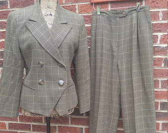 Vintage Christian Dior Green/Beige Striped Wool Suit - Size10