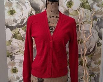 Sak's Fifth Ave Red Cashmere Sweater 90's Small Sweater