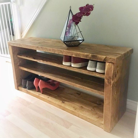 Extra large wooden shoe rack rustic