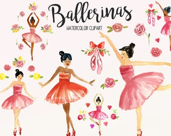 3e75ddd996 Ballerina Watercolor Clipart - Hand Painted - Watercolor - Clipart -  Ballerinas - Flowers - Dancers