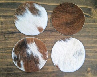 Authentic Cowhide Round Circle Coasters Leather Rawhide Brown White Cow Western Home Decor Hostess Gifts Stocking Stuffers 4 Pk  6 Pk 8 Pack