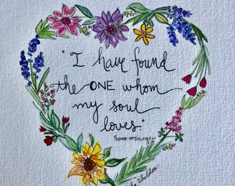 An Original Pen and Ink and Watercolor with Scripture