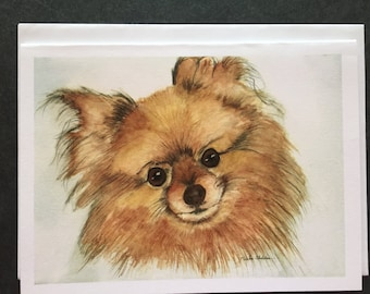 Pomeranian Watercolor Note Card