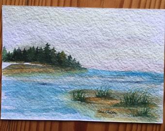 An Original Watercolor, Pine Tree Island and beach