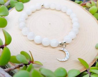Moon Goddess Cerridwen Bracelet - Rainbow Moonstone bracelet - crescent moon bracelet - blue moonstone bracelet - celestial jewelry