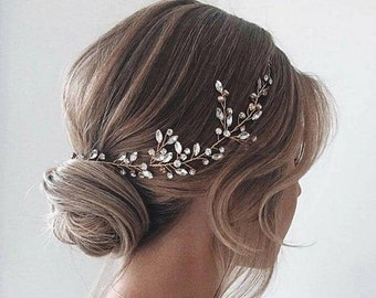 Bridal hair piece crystal Bridal hair vine rose gold crystal Bridal hair accessories gold Wedding hair piece rose gold Wedding hair vine