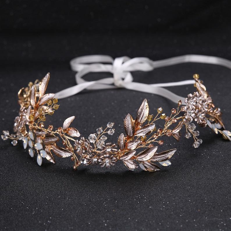 Bridal hair vine Gold headpiece Wedding hair piece Bridal hair accessories for wedding Floral vine Hair jewelry Crystal hair vine Hair crown