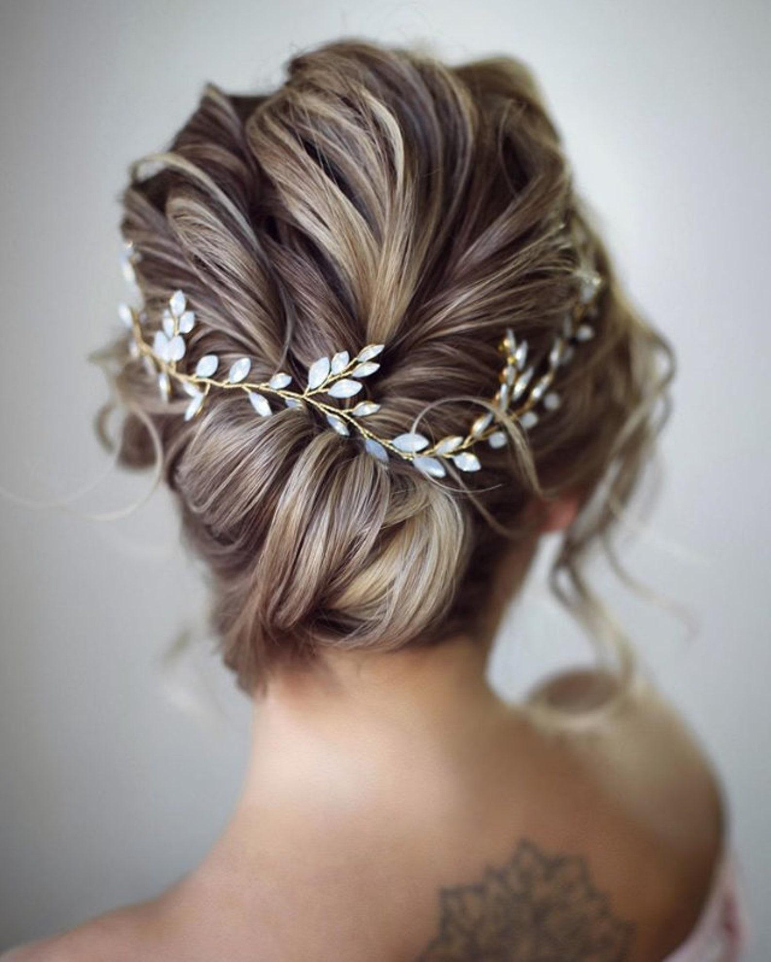 Wedding Hair Accessories Ideas for Boho Chic Brides, Gold and Blue Opal Bridal Hair Vine
